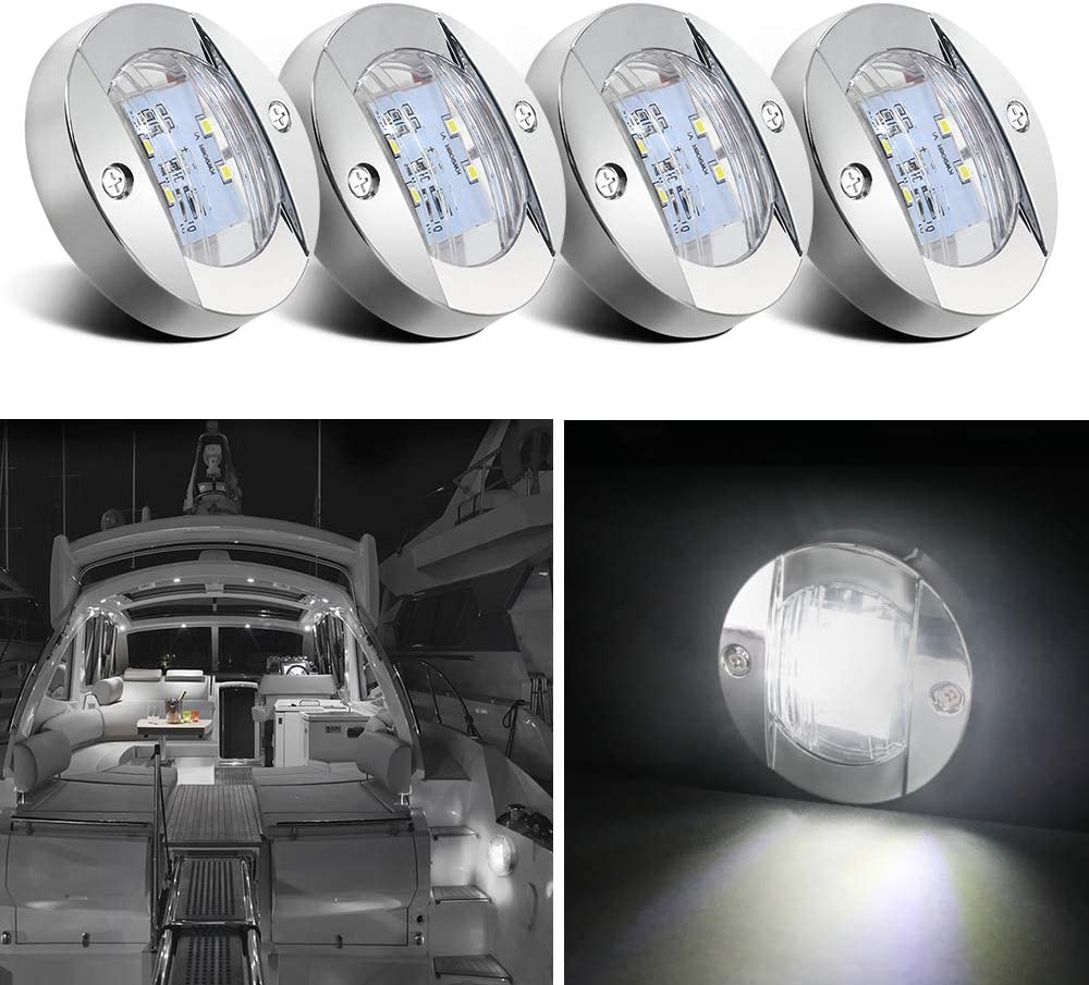 Obcursco Boat Light LED, 12V LED Boat Interior Light for Boat Deck LED Transom Mount Light, LED Boat Courtesy Light. Perfect for Night Fishing (4Pcs)