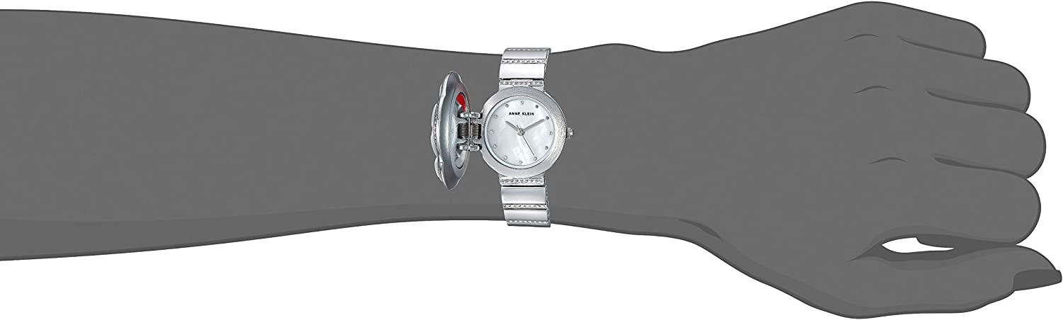 Anne Klein Women's Swarovski Crystal Accented Covered Dial Watch White/Silver