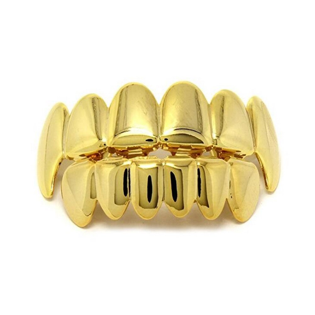Gold Grillz Teeth Set Best gift for Son-New Custom Fit 14k Plated Gold Grillz - Excellent Cut for All Types Of Teeth – Vampire caps Top and Bottom Grill Set - Hip Hop Bling Grillz Charly Shop G-001-G