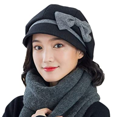 Image Unavailable. Image not available for. Color  677888 Winter Hat for Women  Berets Adjustable Fashion Cute Retro British Wool Autumn ... d36de549684