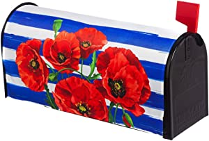 Evergreen Poppies and Stripes Magnetic Mailbox Cover