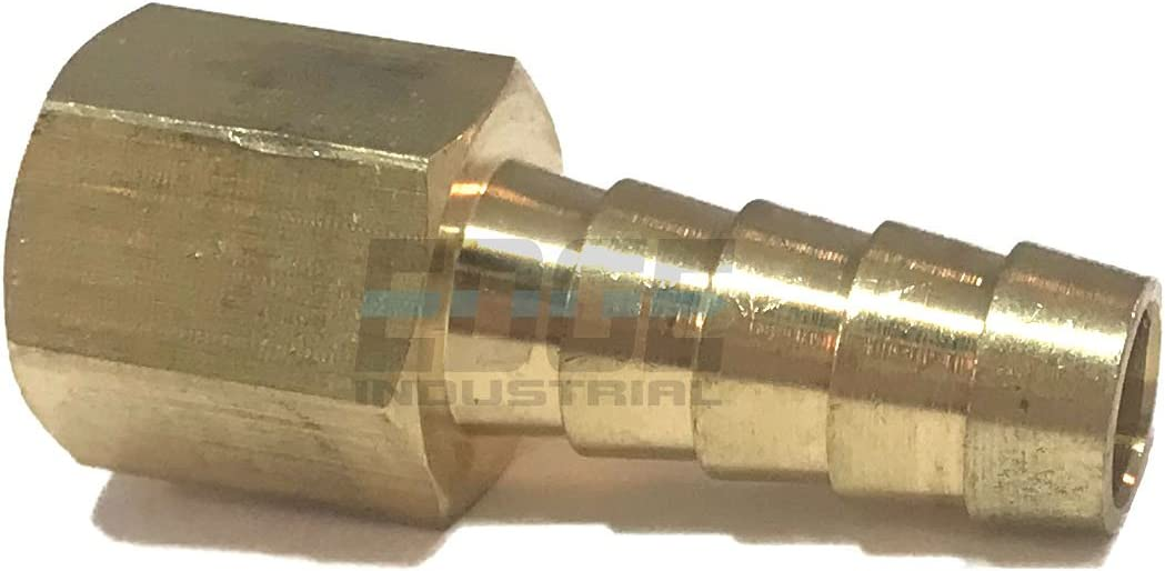"""EDGE INDUSTRIAL 3/8"""" Hose ID to 1/4"""" Female NPT FNPT Straight Brass Fitting Fuel / AIR / Water / Oil / Gas / WOG (Qty 01)"""