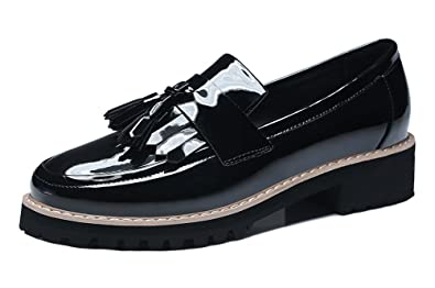 Guciheaven Women s Loafers Flats Patent Leather Slip On Walking Shoes Black  ...