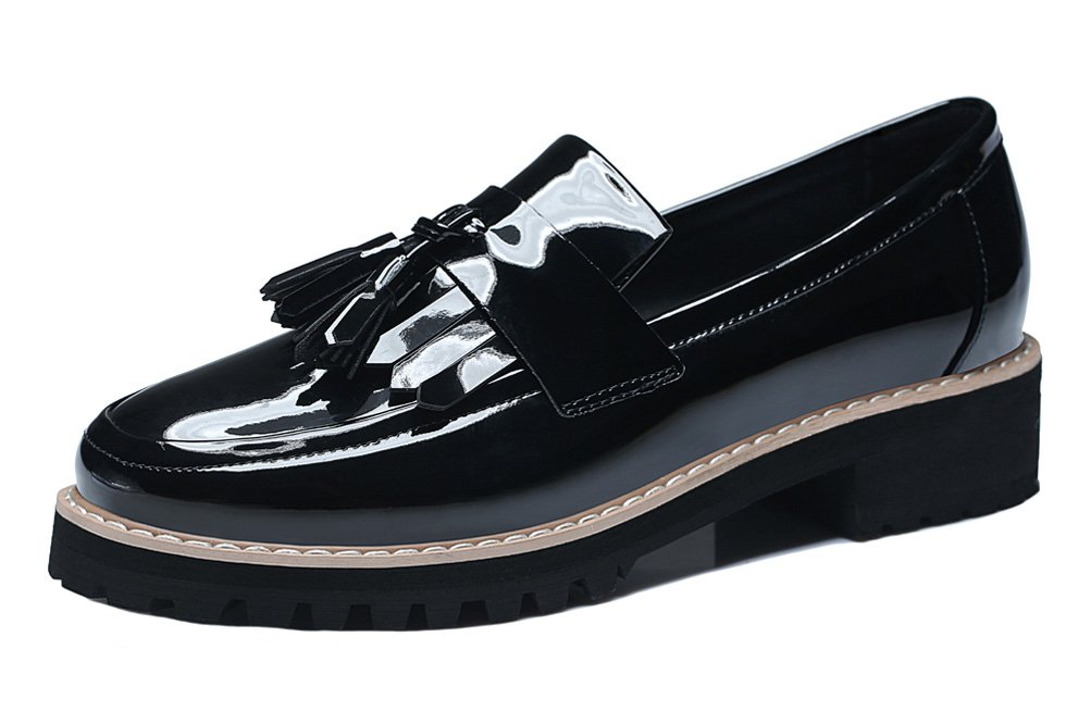 Youxuan Women's Classic Walk Shoes Patent Leather Tassels Loafers Flats Black 6M US