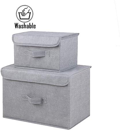 VNIUBI 2 Cajas de Almacenamiento de Lino de algodón: Organizador de Almacenamiento Plegable Ropa Juguetes Universal para el hogar Puede Caja de Juguete Caja de Almacenamiento con Tapa Caja,B: Amazon.es: Hogar