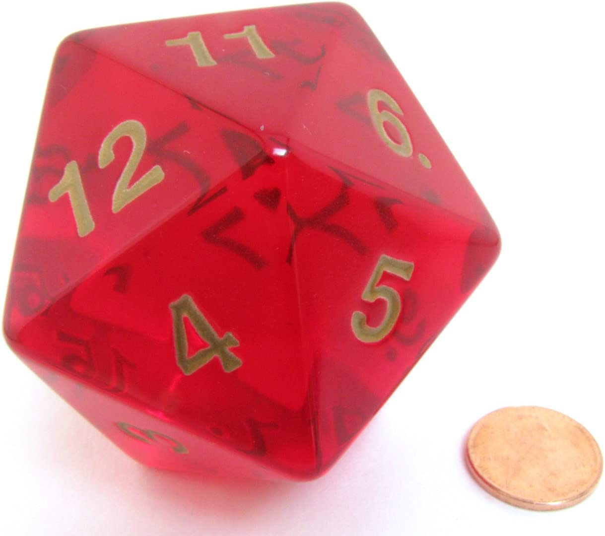 Polyhedral Dice: 20-sided 55mm Ruby Gold: Amazon.es: Juguetes y juegos