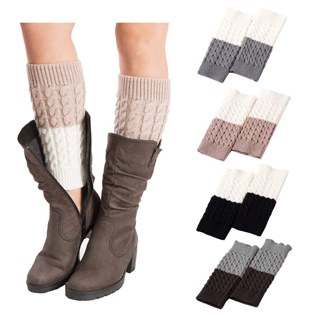 4Pairs Women's Short Leg Warmer Crochet Boot Cover