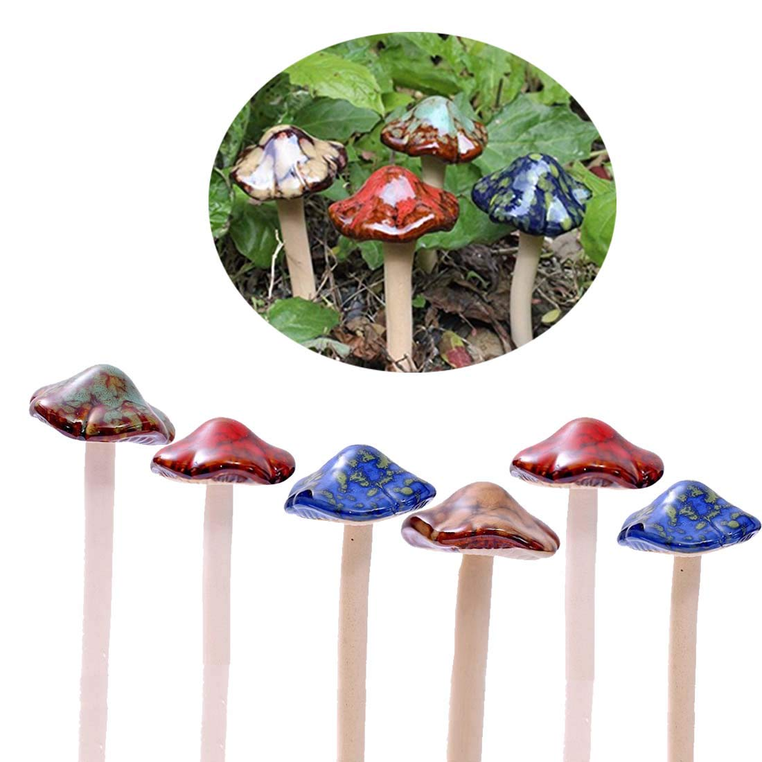 Colorful Garden Mushrooms, ENVEL Fairy Garden Mushroom Toadstool Ceramic [ 4-Colour 6-Pieces ] Garden Pots Decoration Pottery Ornament for DIY Dollhouse Potting Shed Flowerpot Plants Statue