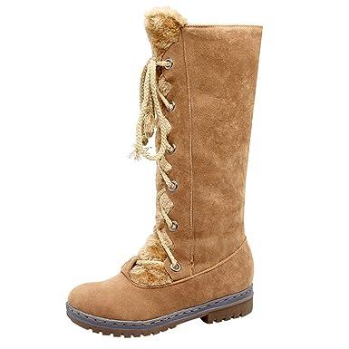 Mujer Botas de Nieve Zapatos Invierno Calientes Botas Altas para Mujer Zapatos Planos de Gamuza con