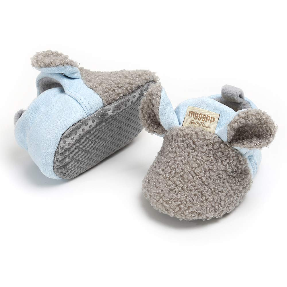 RVROVIC Baby Boys Girls Cozy Fleece Boots with Non Skid Bottom Warm Winter Socks Slippers