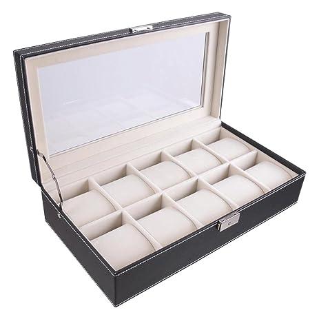 Amazoncom XL 10 Watch PU Display Case Organizer Leather Glass Top