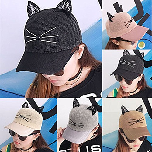 Greneral3 Women Cartoon Adjustable Cat Ears Cap Lovely Mesh Baseball Sun Hats