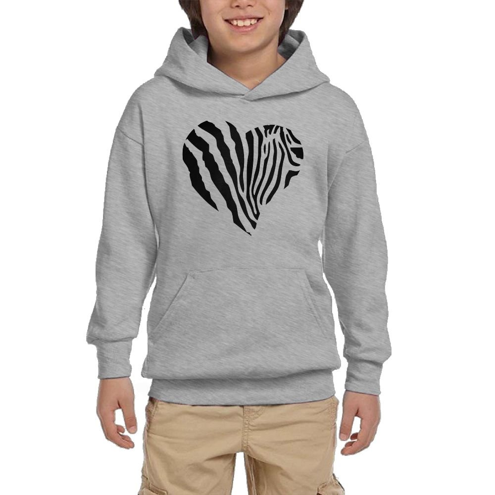 Artphoto Youth's Funny Quotes Zebra Heart Hoodies Sweatshirt Suitable for 10 to 15 Years Old  L Ash by Artphoto