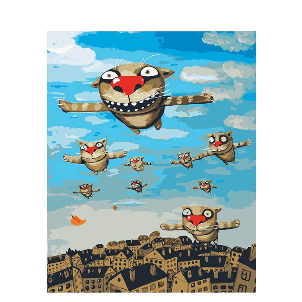 Flying Cat DIY Pintura por números Kits acrílico Pintado a Mano Pintura al óleo para la decoración casera