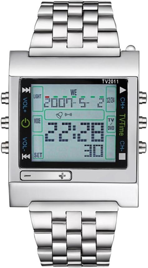 fenkoo Hombre Reloj Deportivo Digital mando a distancia Acero Inoxidable Banda Reloj de pulsera plata