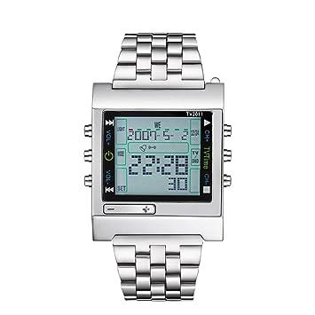 d4751ca81cf4 fenkoo Hombre Reloj Deportivo Digital mando a distancia Acero Inoxidable  Banda Reloj de pulsera plata