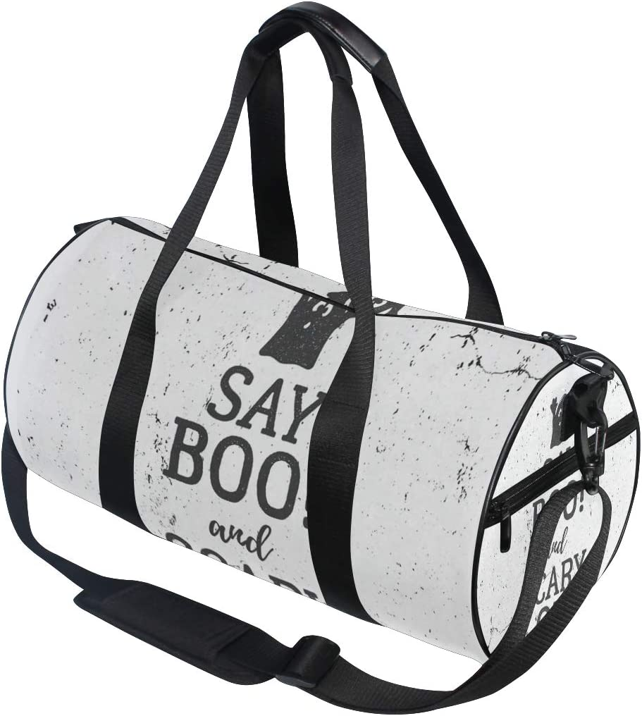 Sports Bag Grunge Say Boo And Scary On Cute Ghost Mens Duffle Luggage Travel Bags Kid Lightweight Gym bag