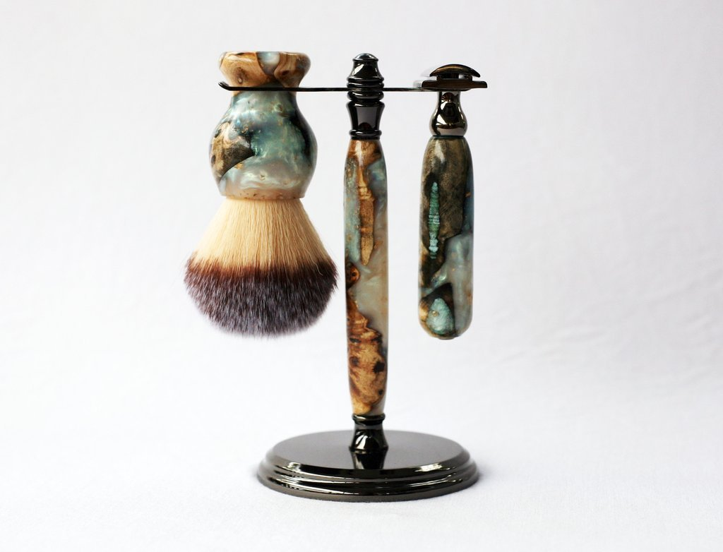 One of a kind Handmade Buckeye Burl Shave Set with 'Travel to Jupiter' Resin by CreationsByWill