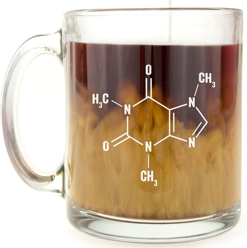 Caffeine Molecule Glass Coffee Mug