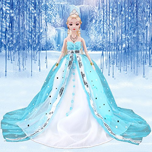 elegantstunning Doll Clothes Princess Wedding Dress Noble Party Gown for Ice Princess Barbie Doll Outfit Best Gift for Girl' Doll Blue -