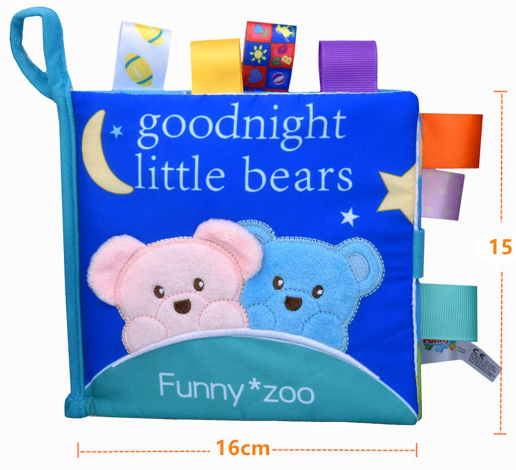Xiaoyu Soft Fabric Baby Cloth Books Early Education Toys Activity Crinkle Cloth Book Perfect for Baby Shower Gift Elephant Bedtime Story