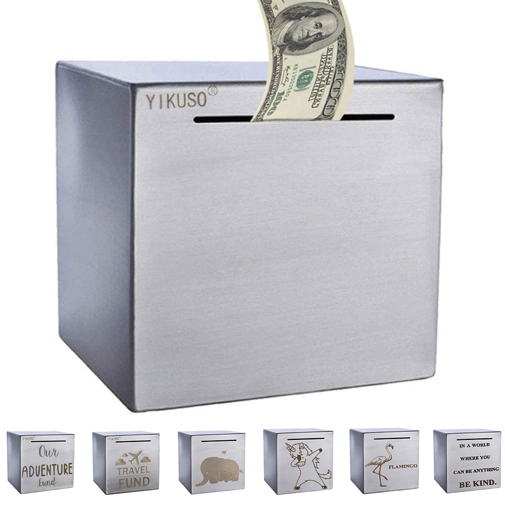 ZSYKD Safe Piggy Bank for Adults,Boys,Girl, Made of Stainless Stell, Safe Box Money Savings Bank for Lover,Thanks Giving Gift,Can Only Save The Piggy Bank That Cannot be Taken Out(White) by ZSYKD