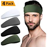Sport Headbands for Men and Women - Mens Headband, Workout Sweatband Headband for Running, Yoga, Fitness, Gym - Performance Stretch/Lightweight (Black+White+Grey+Army Green)