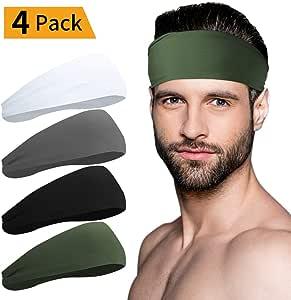 Sport Headbands for Men and Women - Mens Headband, Workout Sweatband Headband for Running, Yoga, Fitness, Gym - Performance Stretch/Lightweight (Black+White+Grey+Army Green)