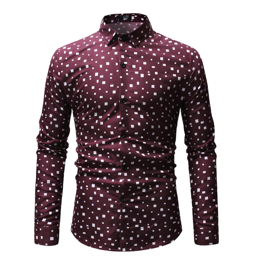 Alelife Clothing Gift for Men Mens New Pattern Casual Fashion Lapel Printing Long Sleeved Shirt