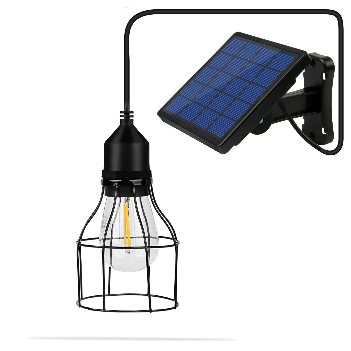 NINGZEXIN Vintage Hanging Metal Cage Outdoor Solar Powered Pendant Light E27 Industrial Edison Bulb 19 Ft Cord Shed Light Black Pendant Lamp With Changeable Solar Panel for Garden Yard Patio Home