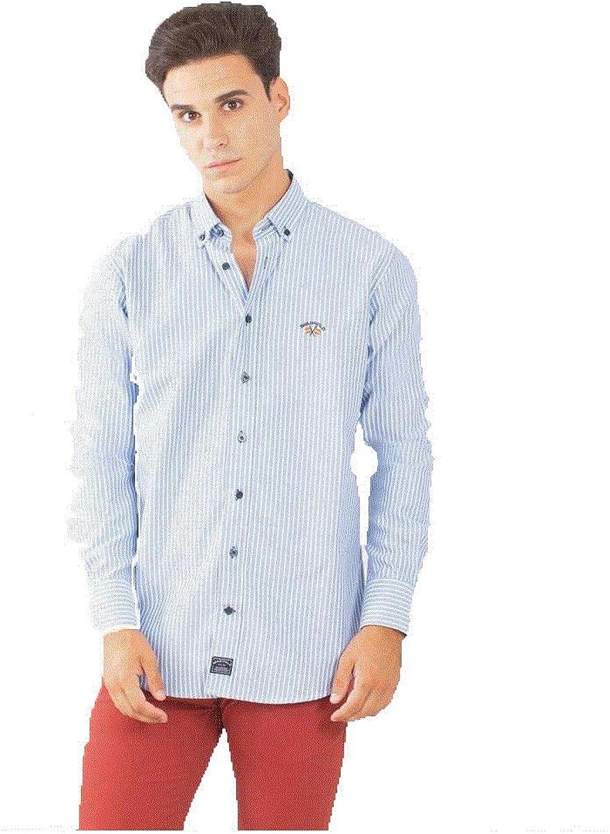 Spagnolo 104006848068, Camisa Casual para Hombre, (Raya Azul Y ...