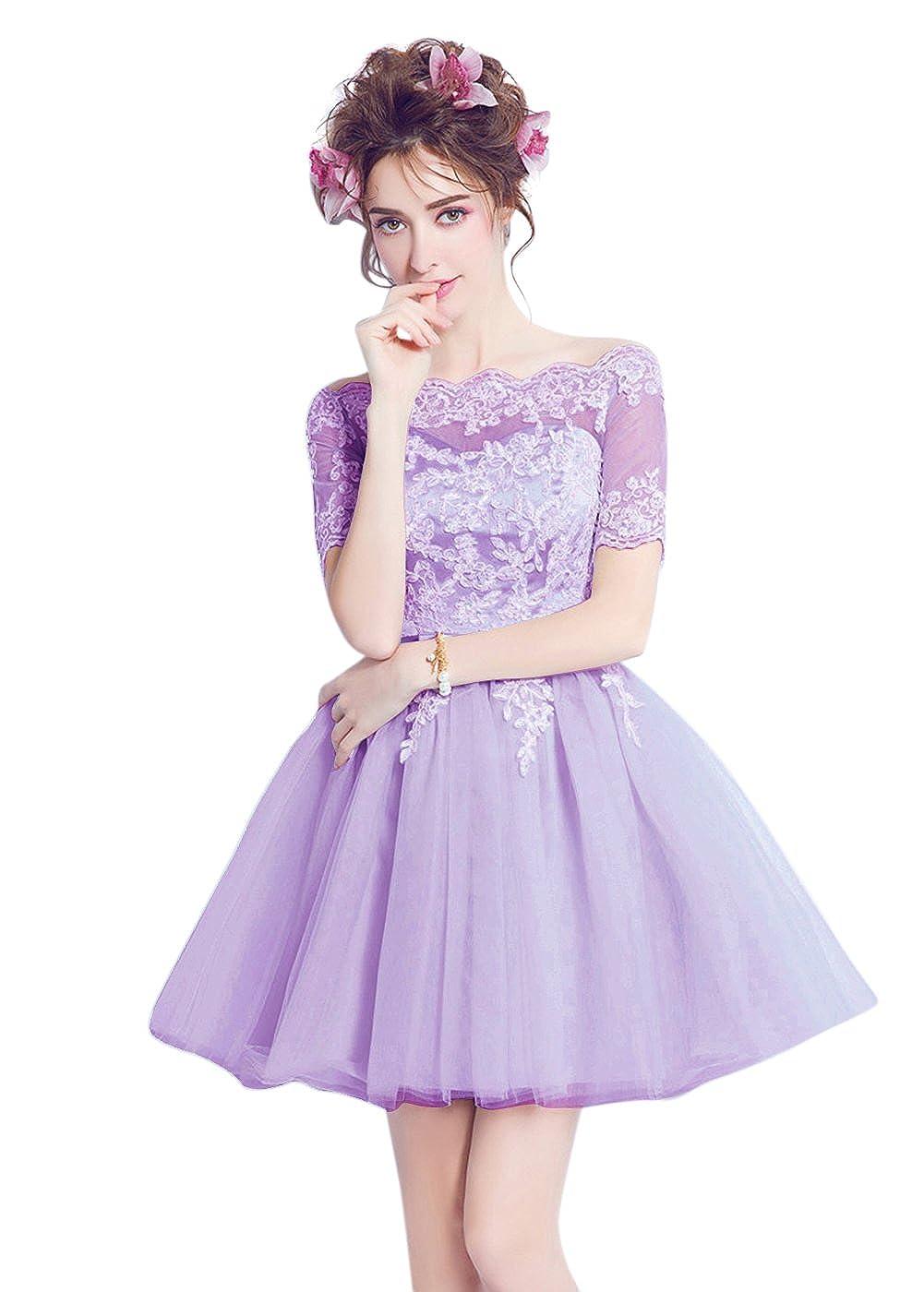 Light Purple BessWedding Women Appliques Sequins Lace up Sash A Line Short Prom Evening Dress