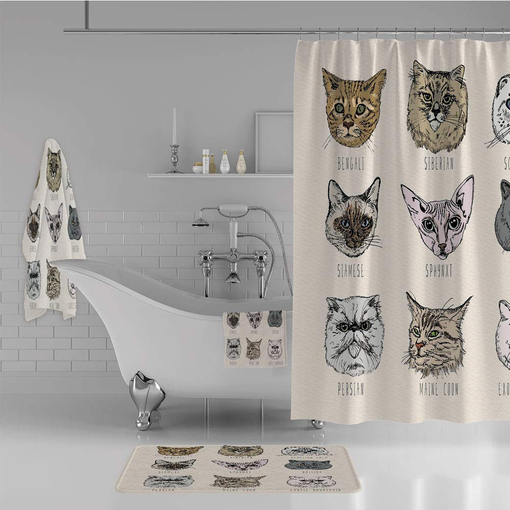 iPrint Bathroom 4 Piece Set Shower Curtain Floor mat Bath Towel 3D Print,Cat Portraits Doodle Style Cute Funny Animals,Fashion Personality Customization adds Color to Your Bathroom.