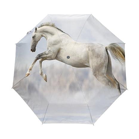 COOSUN Caballo blanco automático 3 plegable Sombrilla de Protección Solar anti-UV paraguas a prueba