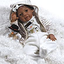 Paradise Galleries African American Realistic Girl Baby Doll Kione, 20 inch GentleTouch Vinyl, Weighted Body Black Hair