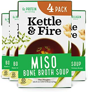 product image for Miso Soup with Chicken Bone Broth by Kettle and Fire, Pack of 4, Paleo Diet, Gluten Free Collagen Soup on the Go, 11g of protein, 16.2 fl oz