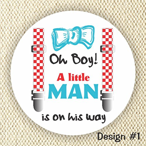 A little Man Baby Shower stickers - Baby Shower Favor Stickers - Oh Boy! from Philly Art & Crafts