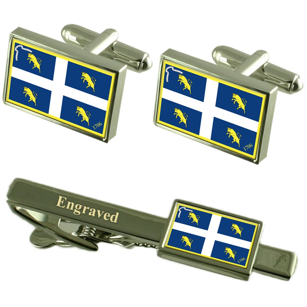 Turin City Italy Flag Cufflinks Engraved Tie Clip Set