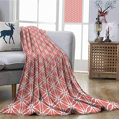 Zmcongz Decorative Throw Blanket Coral Decor Simplistic Linear Sunflower Tied Bound Crochet Damask Floral Lace Tiles Motif All Season for Couch or Bed W70 xL93 Orange White ()