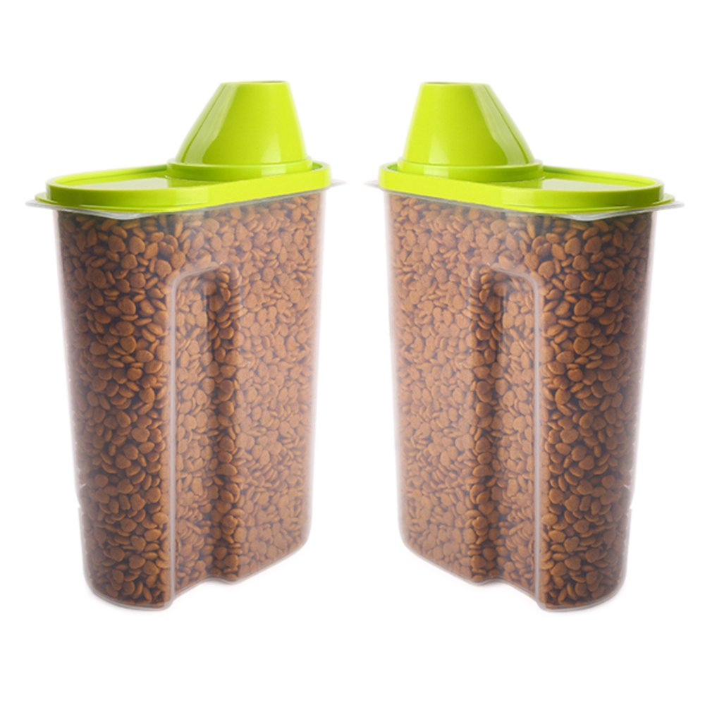 GreenJoy 2 Pack-Pet Dog Cat Food Plastics Storage Container Waterproof Durable Portable
