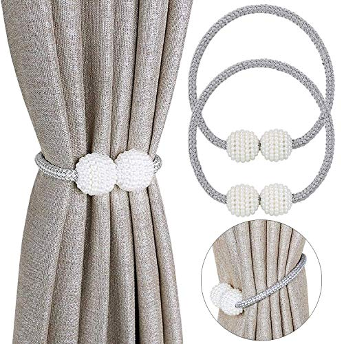 Magnetic Pearl - Pinowu [2 Pack Magnetic Curtain Tiebacks Convenient Drape Tie Backs Pearl Decorative Rope Holdback Holder for Small, Thin or Sheer Window Drapries (Gray)