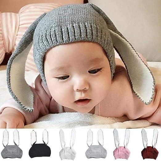 47bf8648d98 KOKOBUY Baby Winter Cap Cute Warm Rabbit Ears Knitted Beanies Hat Black
