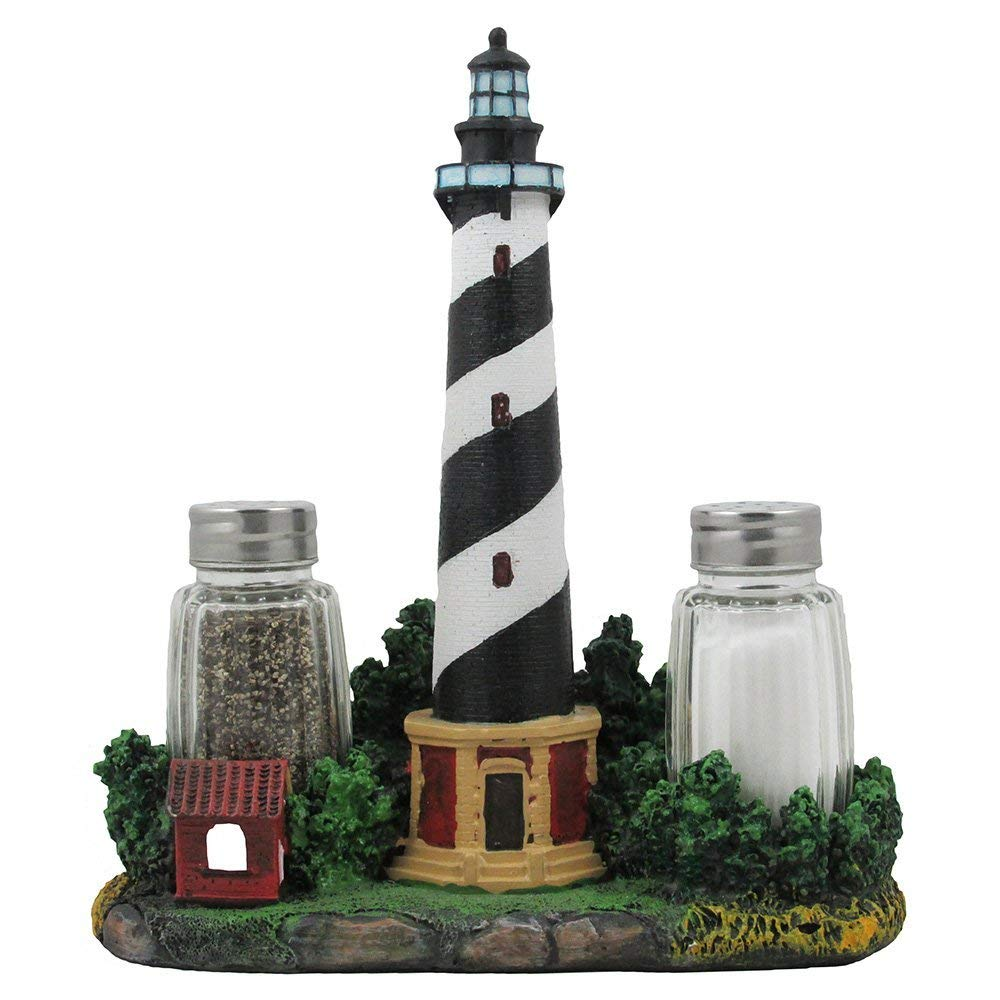 Nautical Cape Hatteras Lighthouse Glass Salt and Pepper Shaker Set Figurine with Holder in Decorative Kitchen Decor Sculptures and Collectible Coastal Gifts
