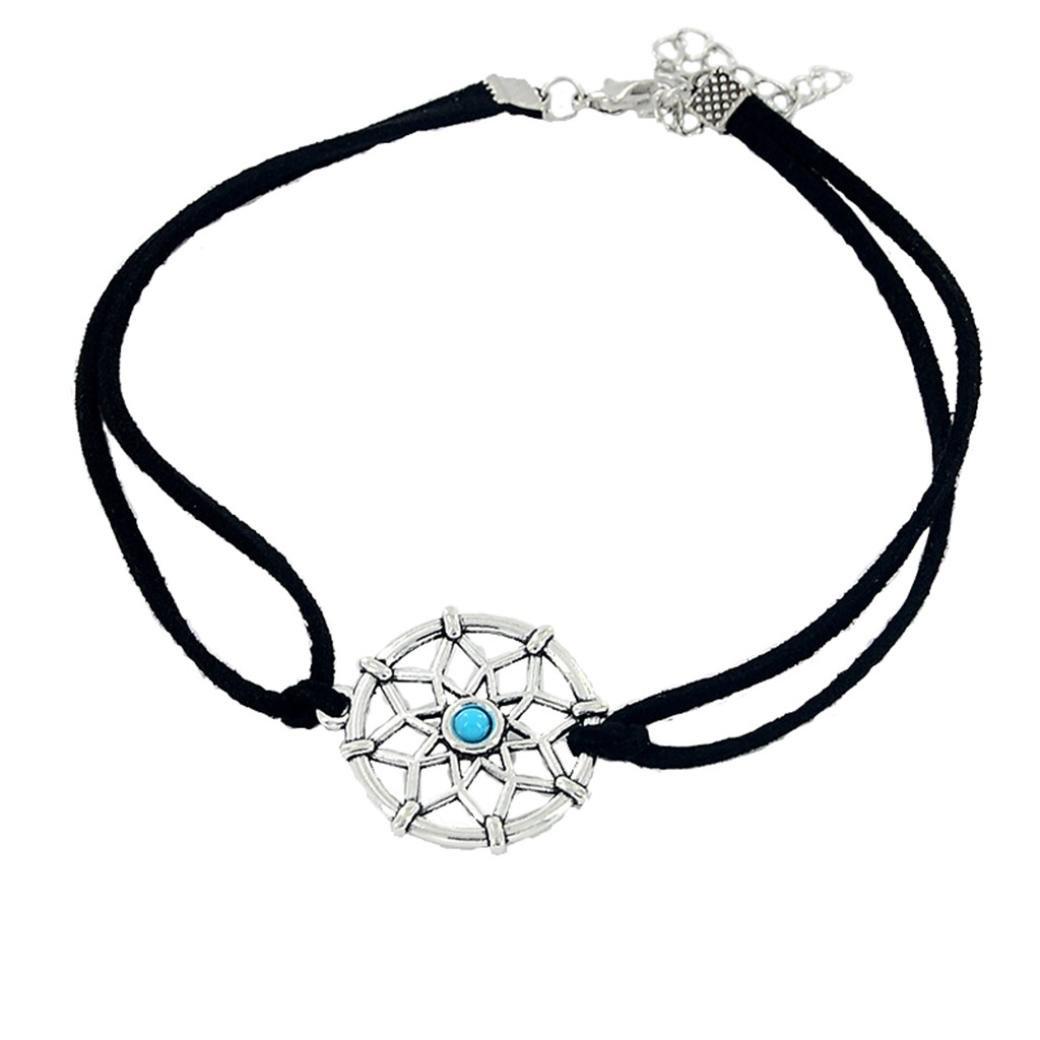 2018 Newest Women Teen Girl Dreamcatcher Choker Necklace Cool Pendant Necklace Jewelry (Silver)