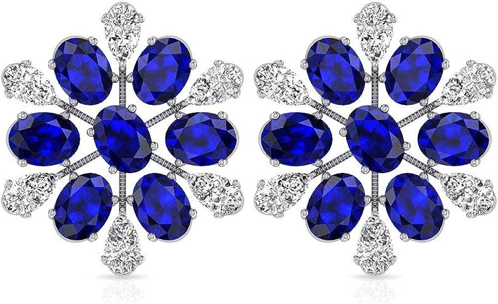 Pendientes de diamante de zafiro azul de 4,62 quilates con copo de nieve, vintage de piedra azul, flor nupcial, piedra de nacimiento de septiembre, 18K Oro blanco, Par