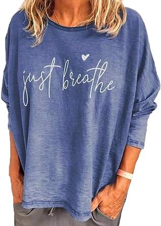 Camisa con Estampado gráfico Just Breathe Letter para Mujer Sudadera con Cuello Redondo de Manga Larga Sudadera Holgada Informal Tops de otoño ...