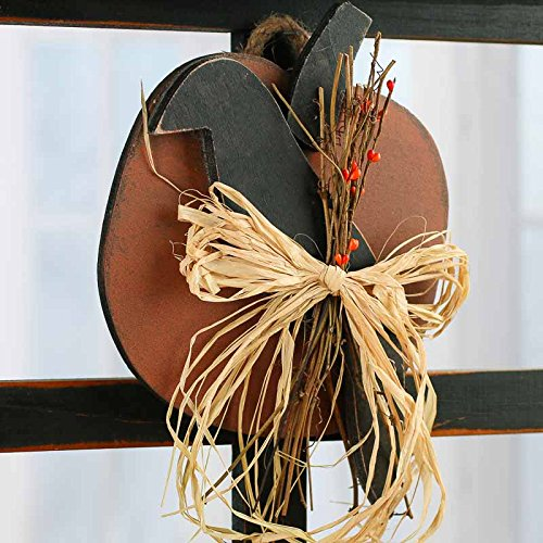 Factory Direct Craft Wooden Primitive Pumpkin and Crow Wall Hanger With Raffia Bow Front for Halloween and Fall (Primitive Fall Halloween Decorations)