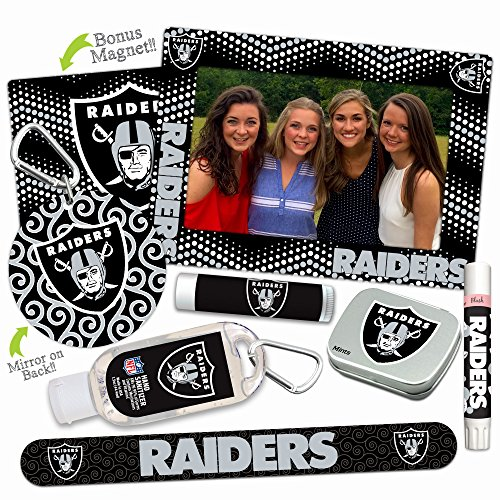 (Oakland Raiders Deluxe Variety Set with Nail File, Mint Tin, Mini Mirror, Magnet Frame, Lip Shimmer, Lip Balm, Sanitizer. NFL gifts for women Mother's Day, Stocking Stuffers)