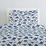 Carousel Designs Ocean Blue Dinosaurs Duvet Cover Queen/Full Size - Organic 100% Cotton Duvet Cover - Made in the USA