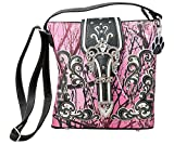 HW Collection Western Camo Camouflage Rhinestone Buckle Concealed Carry Crossbody Handbag Messenger Bag (Pink)